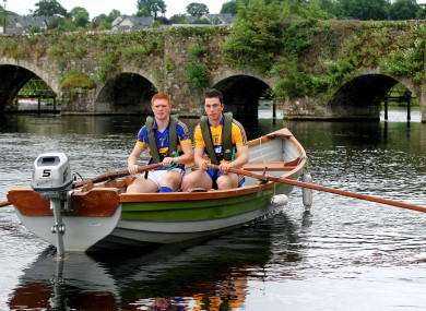 Tipperary's Jason Forde on left with Bord Gais Energy Ambassador Conor McGrath of Clare in Killaloe today.