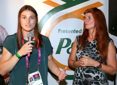 Katie Taylor with her mother Bridget in London 