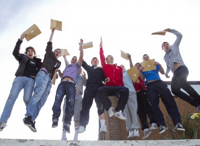 Students from St Kevins in Glasnevin celebrate getting their Leaving Cert results last year