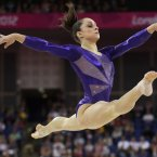 U.S. gymnast Jordyn Wieber floor exercise during the Artistic Gymnastics women's qualification at the 2012 Summer Olympics, Sunday, July 29, 2012, in London. (AP Photo/Gregory Bull)