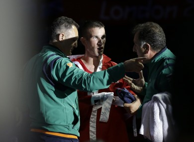 Ireland's John Joe Nevin prepares for his fight against Kazakhstan's Kanat Abutalipov yesterday.