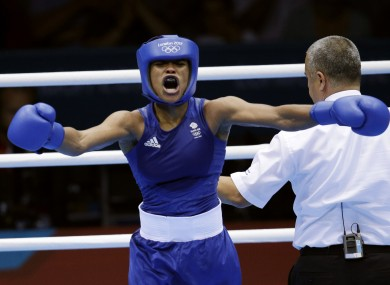 Great Britain's Natasha Jonas, reacts after her fight against the United States' Quanitta Underwood.