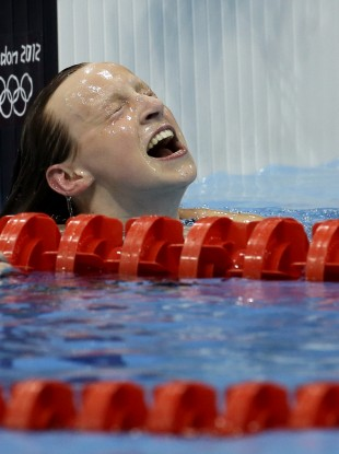 United States' Katie Ledecky reacts after her gold medal win in the women's 800-meter freestyle swimming final at the Aquatics Centre