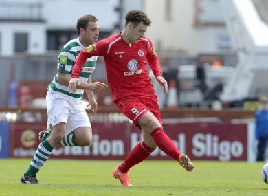 Mark Quigley and Shamrock Rovers midfielder Stephen Rice.