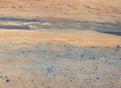 An image taken from the Curiosity rover looking towards Mount Sharp.