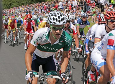 Nicolas Roche of Ireland ascends Box Hill.