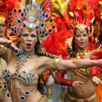The Paraiso School of Samba take part in the Notting Hill Carnival, London. (PA)