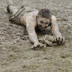 Stein Carpenter from Kells, enjoys the mud on the third day of Oxegen at Punchestown. Pic: Laura Hutton/Photocall Ireland