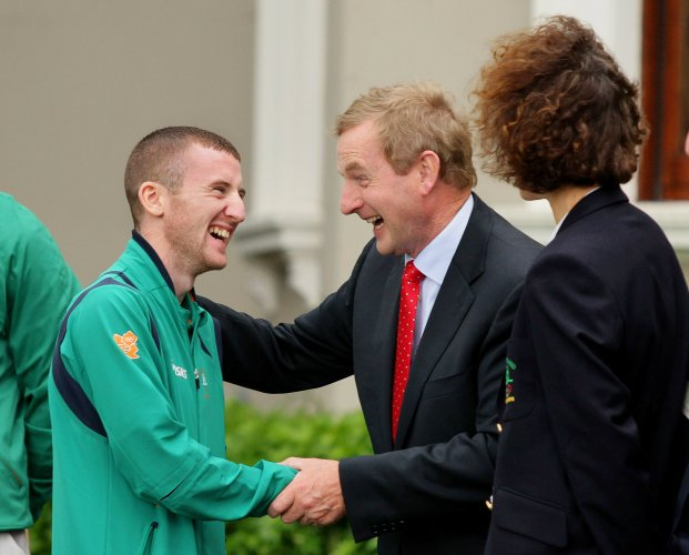 Paddy Barnes is greeted by An Taoiseach Enda Kenny 15/8/2012