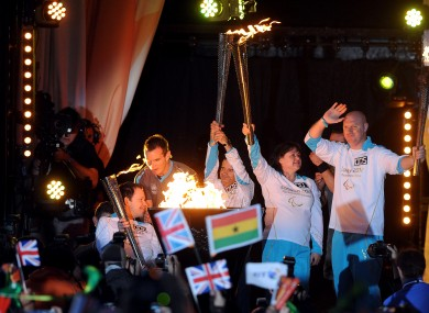 he Cauldron is lit in Stoke Mandeville as the four flames unite.