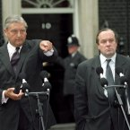 Northern Ireland Secretary Sir Patrick Mayhew and Minister of State for Northern Ireland Michael Ancram answer questions outside 10 Downing Street following the ceasefire announcement on 31 August 1994. Image: Fiona Hanson/PA Archive/Press Association Images