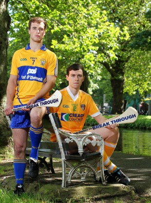 Clare player Patrick O'Connor and Conor McCann, Antrim captain and Bord Gáis Energy Ambassador.