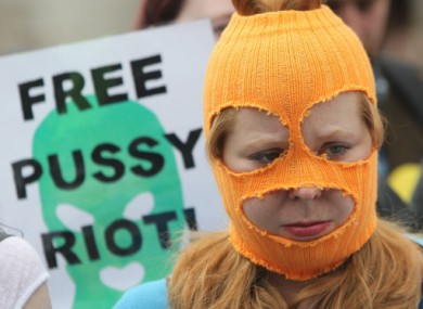 A masked Pussy Riot supporter at a protest on Dublin's O'Connell Street yesterday. 