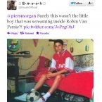 An awkward pic, believed to show a young Robin van Persie in an Arsenal jersey, surfaces.