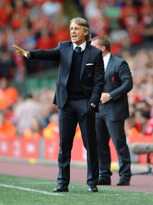 Manchester City's manager Roberto Mancini on the touchline during yesterday's game.