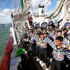 Sailors from the 'Cuauhtemoc' a Mexican Tall Ship dance and sing  as the ship sails out of Dublin Harbour at conclusion of the Tall Ship's Race 2012 Festival stopover in Dublin,Ireland   PRESS ASSOCIATION Photo. Picture date: Sunday August 26, 2012. See PA story to follow . Photo credit should read: Julien Behal/PA Wire. EDITORIAL USE ONLY