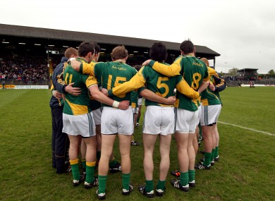 The Meath players before a league game this year. Who will be in charge of them for 2013?