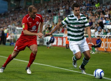 Shamrock Rovers' Tommy Stewart and Alan Keane of Sligo Rovers.