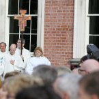 Priests line up before they lead the mass at Dublin Castle. Photo: Sam Boal/Photocall Ireland