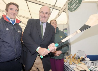 Phil Hogan holding a hurley at the Ploughing Championships in Wexford today.