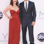 Two Broke Girls star Kat Dennings looks lovely in red, but her co-star Nick Zano could use a talking to. The sunglasses? The boots? Somebody give him a dig.
