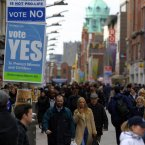 A Fianna Fáil Vote Yes Abortion poster on Henry Street, Dublin in February 2002. (Image: Photocall Ireland)