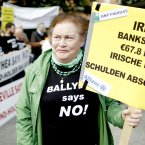 Frances O'Brien from the Ballyhea protest group, protesting against bank bailouts, before marching to Leinster House. Julien Behal/PA Wire
