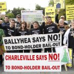 The Ballyhea protest group with a petition against bank bailouts before marching to Leinster House. Julien Behal/PA Wire
