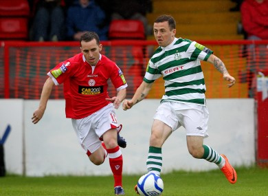 Shelbourne's Barry Clancy and Gary McCabe of Shamrock Rovers.