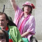Margaret Kennedy outside Leinster House this afternoon. Image: Niall Carson/PA Wire
