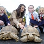 Rose of Tralee Aoibhinn Ni Shuilleabhain with 8-year-olds Mollie Grouse, Eugenia Grimes and Niamh Kavanagh in 2005. That race is still going. Image: Photocall Ireland.