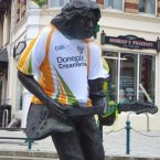 Ballyshannon's Rory Gallagher statue gets into the mood. Image: Rory O'Neill