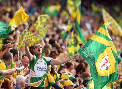 Donegal supporters celebrating during their All-Ireland semi-final win over Cork.