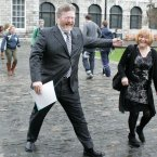 James Reilly uses his hands for good as he gestures towards his pal Roisin Shortall in November 2011. 