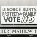 Anti-divorce posters at the Father Matthew Hall on polling day for the divorce referendum, 26 June 1986. Image: Photocall Ireland