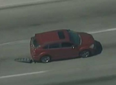 A still from Fox News live stream of the car chase