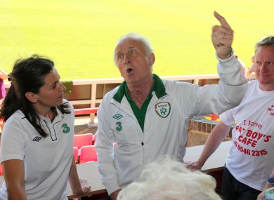 Manager Giovanni Trapattoni addresses the medial in London yesterday.