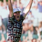 1999: Justin Leonard celebrates his famous 45-foot putt to win a half against Jose Maria Olazabal at Brookline in 1999.