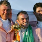 2006: Darren Clarke, Paul McGinley and Padraig Harrington hold the Ryder Cup after Europe's win at the K Club, Kildare.