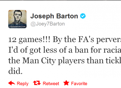 Barton was not happy with the FA's decision.