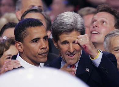 A young Barack Obama with the 2004 nominee John Kerry
