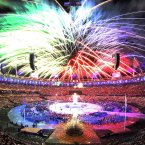 Fireworks during the opening ceremony at the Olympic Stadium.