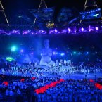 Performers during the Opening Ceremony for the London Paralympic Games 2012 at the Olympic Stadium, London.