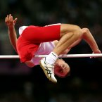Poland's Lukasz Mamczarz during the Mens High jump F42 category in the Olympic Stadium.  PRESS ASSOCIATION Photo. Picture date: Monday September 3, 2012. See PA story PARALYMPICS Athletics. Photo credit: David Davies/PA Wire