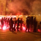 Riots around Carlisle Circus over recent nights have left more than 60 officers injured. Image: Paul Faith/PA Wire