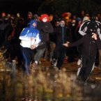 Missiles and fireworks were thrown at police during the disturbances. Image: Paul Faith/PA Wire