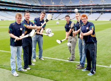 Members of the Kilmacud Crokes club at the launch of this year's hurling sevens in Croke Park.