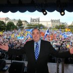 First Minister Alex Salmond speaks at a rally for Scottish Independence in Princess Street Gardens, Edinburgh, as thousands of people took to the streets of Edinburgh in one of the largest pro-independence marches the city has seen.