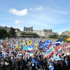 Crowds gather at a rally for Scottish Independence in Princess Street Gardens, Edinburgh, as thousands of people took to the streets of Edinburgh in one of the largest pro-independence marches the city has seen.