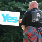 Supporters attend a rally for Scottish Independence in Princess Street Gardens, Edinburgh, as thousands of people took to the streets of Edinburgh in one of the largest pro-independence marches the city has seen.